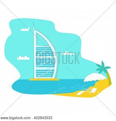 United Arab Emirates Futuristic Urban Landscape, Tropical Ocean Sand Beach Rest Place, Parus House F