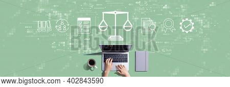 Legal Advice Service Concept With Person Working With A Laptop