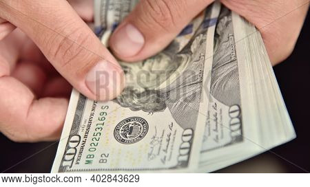 Hands Count Money Bills. Starting Investment Capital. Finance And Trade Concept. Close Up