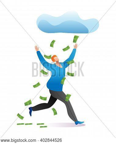 Lucky Man Character Running Under Cloud Money Rain, Fortunate Male Winner Lottery Cartoon Vector Ill