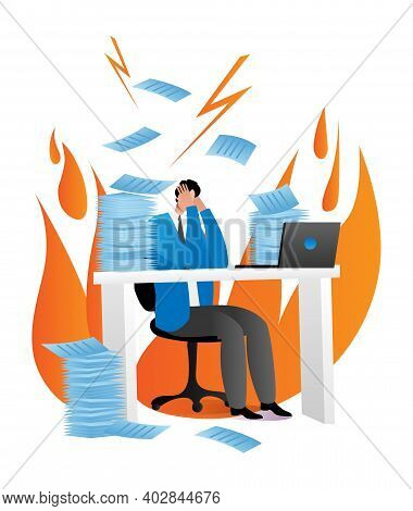 Office Worker Character Stressful On Workplace, Businessman Sitting Laptop, Firm Leader In Fire Cart