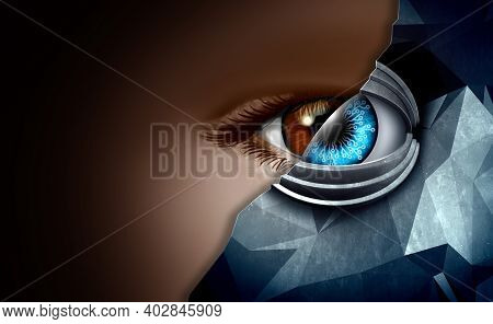 Technology In Human And Machine Concept As Advanced Tech Or Robots Taking Over Humanity And People M