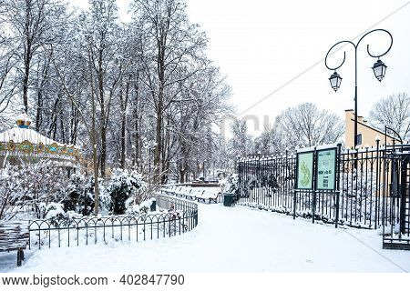 Vilnius, Lithuania - January 10, 2021: Bernardinai Garden In Winter Covered With White Snow.
