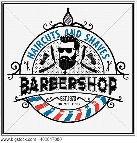 Barbershop Poster, Banner Template With Bearded Men. Vector Illustration