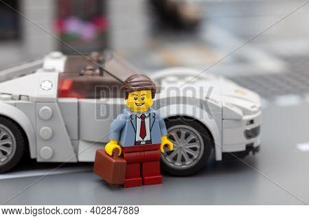 Tambov, Russian Federation - January 08, 2021 Lego Businessperson Minifigure Standing Near His Sport