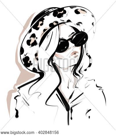 Beautiful Young Woman In Hat With Leopard Print. Stylish Woman. Pretty Girl In Sunglasses. Fashion I