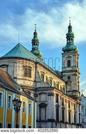 Belfries Of The Baroque Church Of The Jesuit Monastery In The City Of Nysa