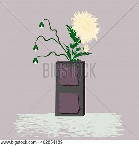 Ikebana - Art Nouveau Vase, Yellow Chrysanthemum - Illustration, Vector. Flower Composition. Interio