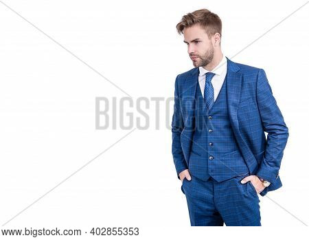 Gentlemens Outfitters Style For Dapper Gents. Manager In Navy Suit Isolated On White. Gentlemens Tai