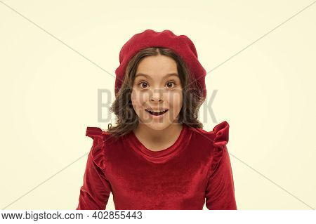 What A Surprise. Pretty Little Girl Wear Red Barret. Happy Childhood. Small Beauty Isolated On White