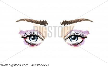 Beautiful Eyes And Long Eyelashes In Watercolor Technique. Purple Eyeshadows And Blue Eyes. Hand Dra