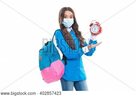Promotional Timeline. Kid In Mask Hold Clock And Open Hand. Promotional Covid-19 Products. Preventiv