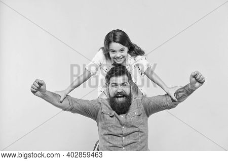 Love In Our Family Grows Deep. Happy Family Celebrate Yellow Background. Father And Little Daughter