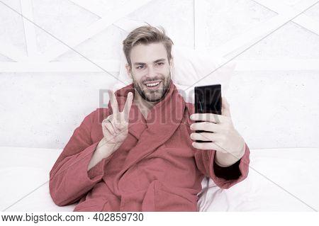 Man Hipster Surfing Internet Social Networks. Online Communication. Mobile Dependence. Social Networ
