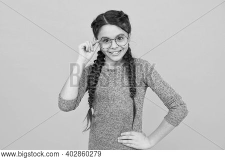 Glasses She Likes The Look Of. Happy Girl With Intellectual Look. Beauty Look Of Little Child. Eye C