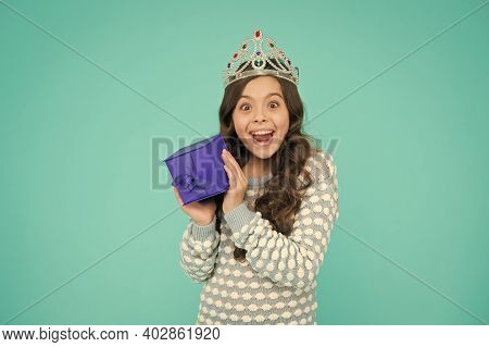 Excited Child. Cute Smiling Little Girl With Gift Box. Kid Princess Crown. Happy Birthday. Birthday