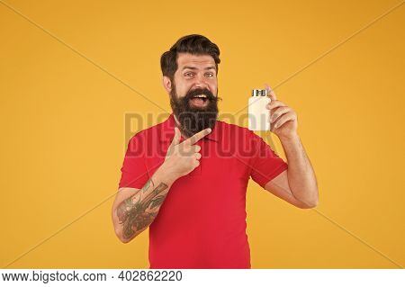 Vitamin Complex. Handsome Bearded Man Take Medication. Health Care. Better Nutrition For Better Life