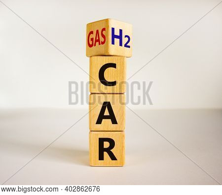 Gas Car Or H2 Hydrogen Car Symbol. Turned A Cube And Changed Words 'gas Car' To 'h2 Car'. Beautiful
