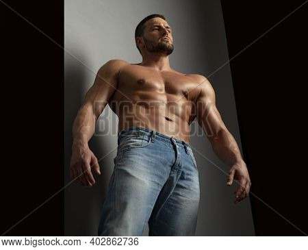 Bare Man Torso. Naked Male Body. Nude Guy. Sexy Muscular Topless Fitnes Model. Nude Abs