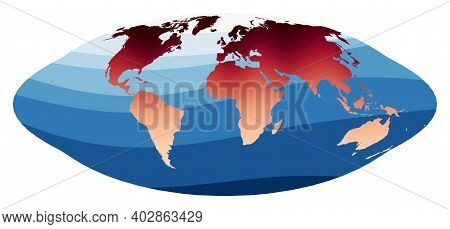 World Map Vector. Pseudocylindrical Equal-area Goode Homolosine Projection. World In Red Orange Grad