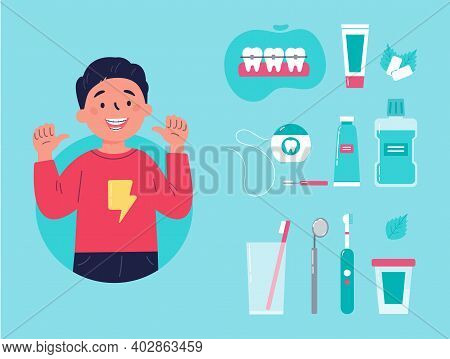 Teenager Showing His Smile With Dental Braces. Trendy Boy With Various Accessories For Daily Dental