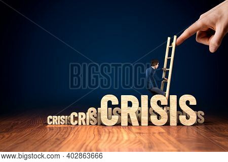Crisis Manager Helps To Growth After Coronavirus Crisis. Motivation To Growth After Crisis Concept.