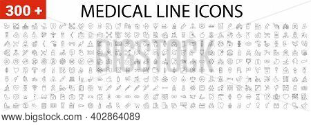 Medical Vector Icons Set. Line Icons, Sign And Symbols In Linear Design. Medicine, Health Care And C