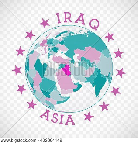 Republic Of Iraq Round Logo. Badge Of Country With Map Of Republic Of Iraq In World Context. Country