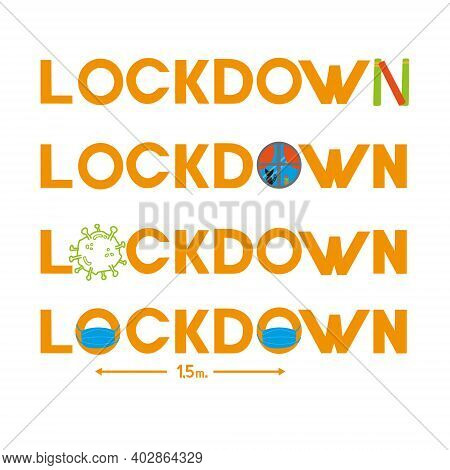 Coronavirus Lockdown Logo. World Pandemic Lockdown. Vector Illustration