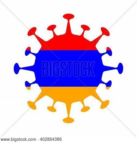 Flag Of Armenia In Virus Shape. Country Sign. Vector Illustration.