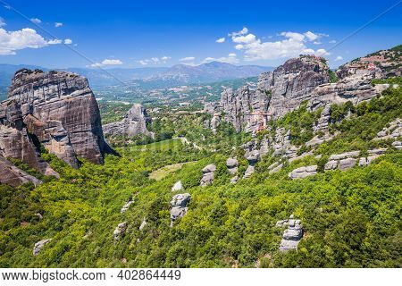 Meteora, Greece. Sandstone Rock Formations, The Rousanou, The Nikolaos And The Grand Meteora Monaste