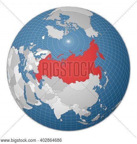 Globe Centered To Russia. Country Highlighted With Green Color On World Map. Satellite World Project