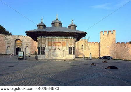 Istanbul, Turkey - October 05, 2020. Fountain Of Sultan Ahmed Iii In The Great Square. View Of The I