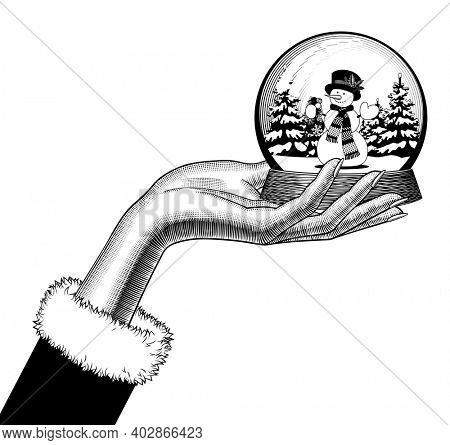 Female hand holding a snow globe with a snowman in scarf and hat. Vintage engraving stylized drawing in black and white colors