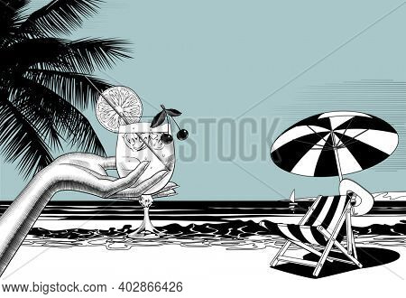 Woman's hand holding a fruit cocktail and beach chair and umbrella against the sea. Linear comic black and white retro stylized drawing