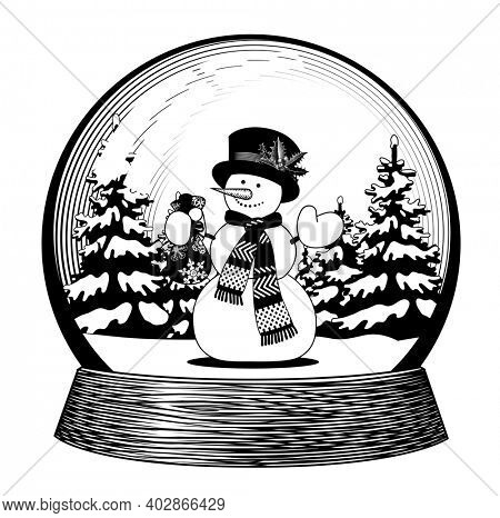 Snow globe with a snowman in scarf and hat. Vintage engraving stylized drawing in black and white colors