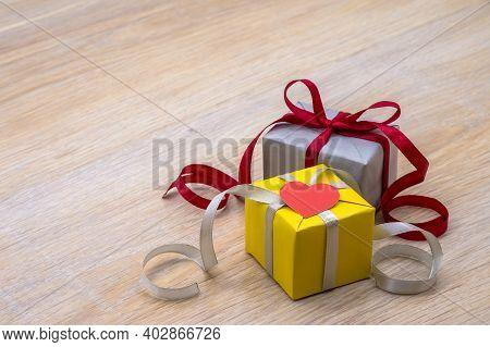 Decor For Valentine's Day February 14, Gray Packaging With Red Ribbon, Yellow-gray Color In Gifts, G