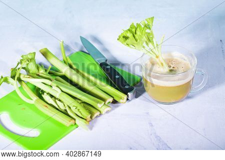 Healthy Celery Diet For The Treatment Of Incurable Mysterious Diseases. Fresh Celery Juice Squeezed