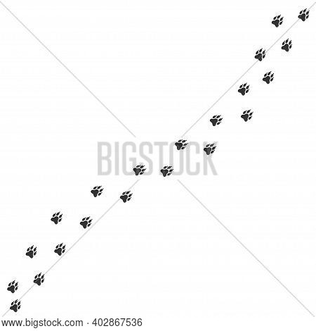 Wolf Or Dog Paws Print. Footpath Trail Of Animal, Vector Illustration
