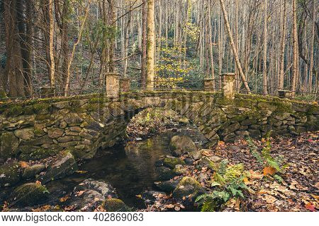 The Troll Bridge In Late Fall In Great Smoky Mountains National Park