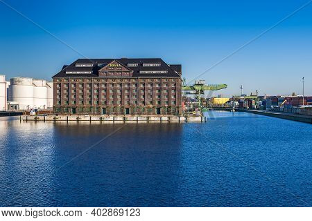 Berlin, Germany - November 7, 2020: Westhafen Port Behala, Inland Port And Operator Of The Trimodal