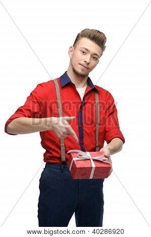 cheerful retro man holding gift
