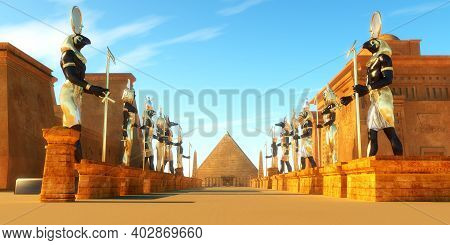 Avenue Of Egyptian Pharaohs 3d Illustration - Statues Of Egyptian Gods Line A Street In Ancient Egyp
