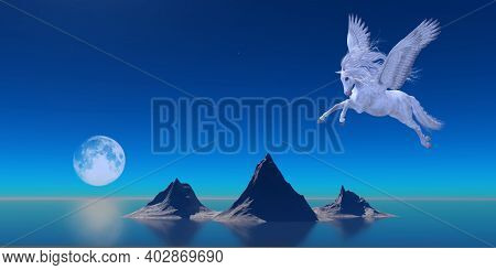 Pegasus By Ocean 3d Illustration - A Beautiful White Pegasus Flies Over The Calm Waters Of The Ocean