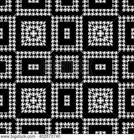 Houndstooth Textured Black And White Seamless Pattern. Vector Ornamental Background. Modern Hounds T
