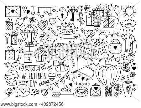 Big Vector Doodle Love Symbols Set. Hearts, Hot Air Balloon, Gifts Parachute, Banner, Flag Garland,