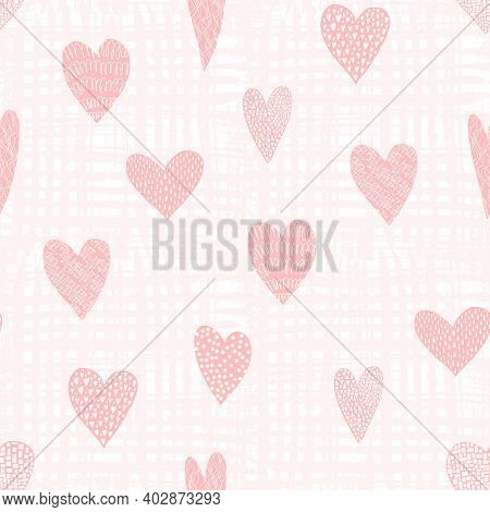 Cute Seamless Pattern With Pink Hand Drawn Textured Hearts On Textured Background. Lovely Vector Tex