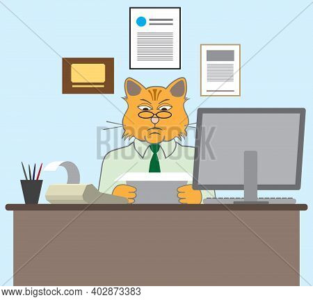 A Serious Cartoon Cat Accountant Is At His Desk Crunching Numbers