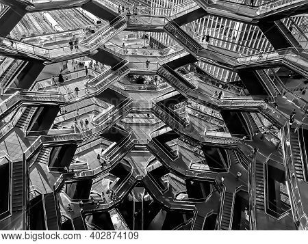 An Overhead, Abstract Interior Shot Of The Hudson Yards Vessel In Midtown Manhattan. 1/11/2021