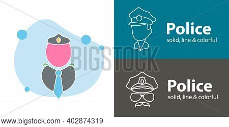 Cop Isolated Vector Flat Icon. Police Line Solid Design Element